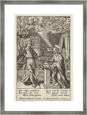 Annunciation, Hieronymus Wierix Framed Print by Hieronymus Wierix