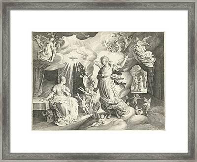 Annunciation, Nicolaes De Bruyn Framed Print by Nicolaes De Bruyn