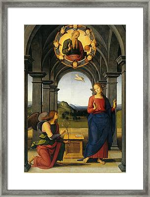 Annunciation Of Fano Framed Print by Pietro Perugino
