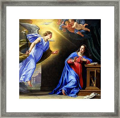 Framed Print featuring the painting Annunciation by Philippe de Champaigne