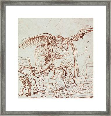Annunciation  Framed Print by Rembrandt Harmenszoon van Rijn