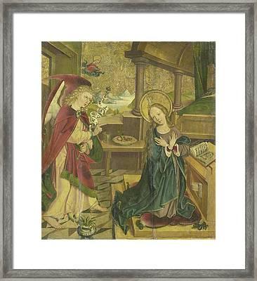 Annunciation To The Virgin, Meester Van Het Salemer Altaar Framed Print by Litz Collection