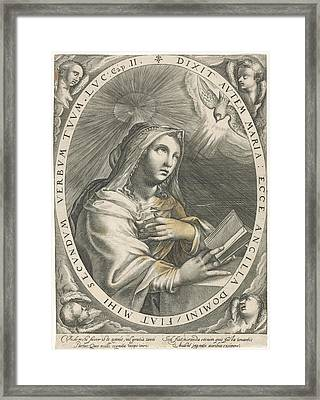 Annunciation Virgin Mary, Crispijn Van De Passe Framed Print by Quint Lox