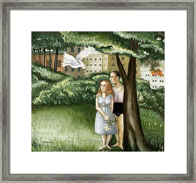 Annunciation With Burning Building Framed Print by Caroline Jennings