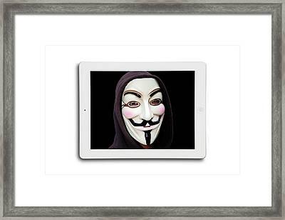 Anonymous Mask On Digital Tablet Framed Print by Victor De Schwanberg