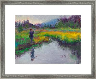 Another Cast - Fishing In Alaskan Stream Framed Print