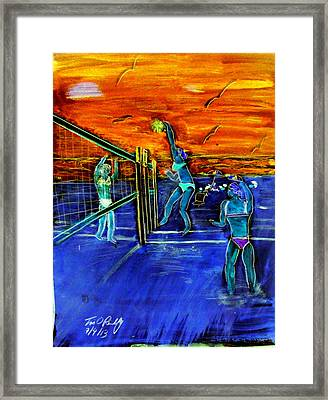 Another Oreilly Original Painting 50 Shades Of Spiking  On Air Illusionist  Air Miller Walking On Ai Framed Print by Tim OReilly