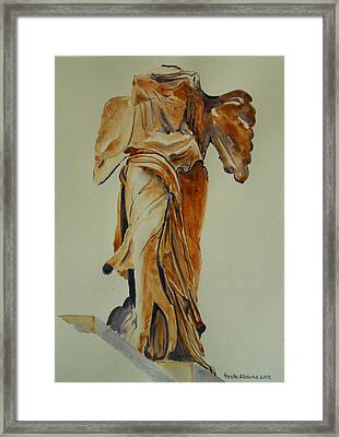 Another Perspective Of The Winged Lady Of Samothrace  Framed Print