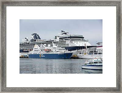 Antarctic Cruise Boats Framed Print by Ashley Cooper