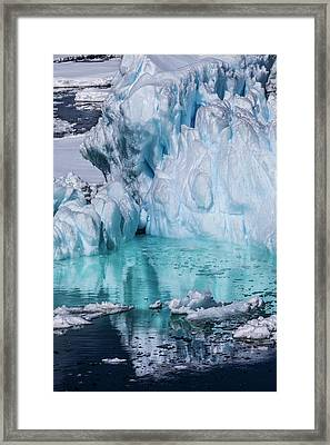 Antarctica Colorful Iceberg And Sea Ice Framed Print by Janet Muir