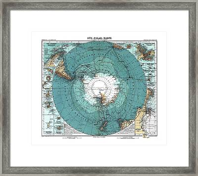 Antarctica Map Old 1912 Poster Art Drawing Framed Print by Paul Fearn