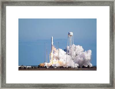 Antares Rocket Test Flight Launch Framed Print by Nasa/bill Ingalls