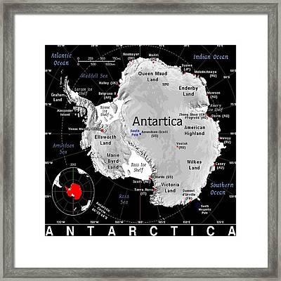 Antartica Exotic Map Framed Print