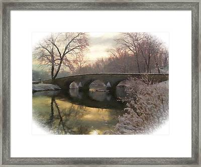 Anteitam Burnside Bridge In Spring Snow Framed Print by Elaine Plesser
