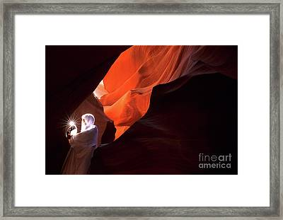 Antelope Canyon Keeper Of The Light Framed Print by Bob Christopher