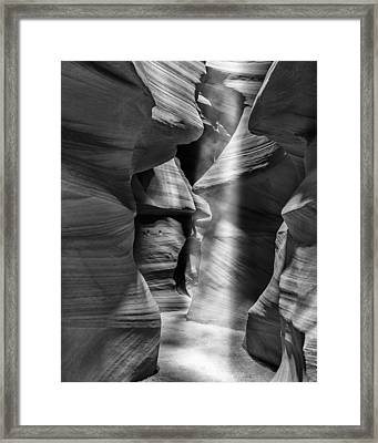 Antelope Canyon Light Beam Black And White Framed Print by Adam Romanowicz