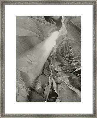 Antelope Canyon Light Black And White Framed Print