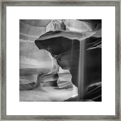 Antelope Canyon Pouring Sand Bw Framed Print by Melanie Viola