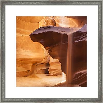 Antelope Canyon Pouring Sand Framed Print by Melanie Viola