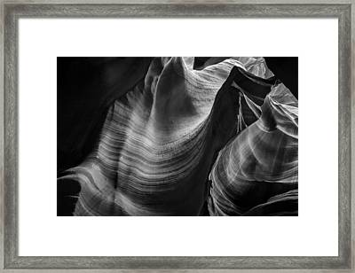 Antelope Canyon Waves Black And White Framed Print by Adam Romanowicz