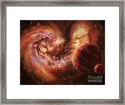 Antennae Galaxies And Planets Framed Print by Arwen De Lyon