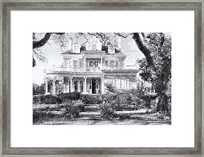 Anthemion At 4631 St Charles Ave. New Orleans Sketch Framed Print by Kathleen K Parker