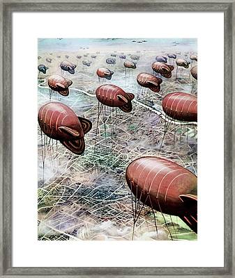 Anti-aircraft Balloons Over London Framed Print by Cci Archives
