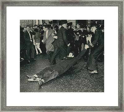 Anti - Bomb Demonstration In Trafalgar Square Goes Framed Print by Retro Images Archive