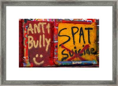 Anti-bully Sign. Framed Print by Oscar Williams