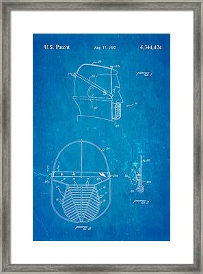 Anti Eating Mask Patent Art 1982 Blueprint Framed Print by Ian Monk