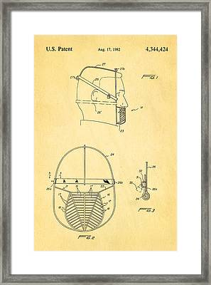 Anti Eating Mask Patent Art 1982 Framed Print by Ian Monk