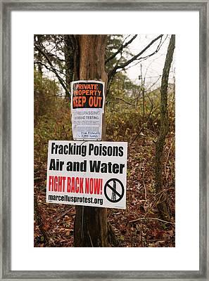 Anti-fracking Sign Framed Print by Jim West