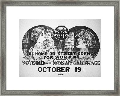 Anti-suffrage Poster, 1915 Framed Print