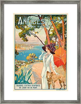 Antibes Vintage Travel Poster Framed Print