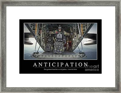 Anticipation Inspirational Quote Framed Print by Stocktrek Images