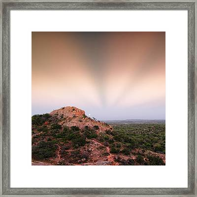Anticrepuscular Rays Over Turkey Peak - Enchanted Rock State Natural Area Texas Hill Country Framed Print by Silvio Ligutti