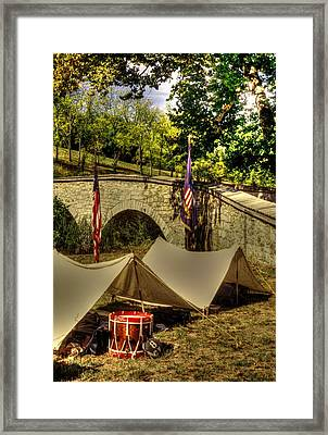 Antietam - 8th Connecticut Volunteer Infantry-a1 Encampment Near The Foot Of Burnsides Bridge Framed Print by Michael Mazaika