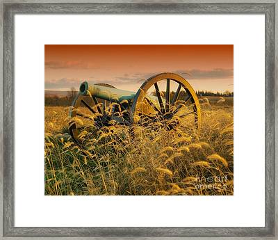 Framed Print featuring the photograph Antietam Maryland Cannon Battlefield Landscape by Paul Fearn