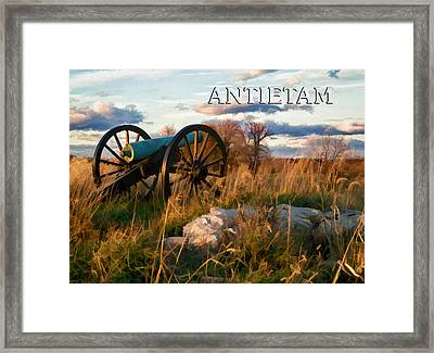Antietam National Park Battleground With Cannon In Autumn Afternoon Framed Print by Elaine Plesser