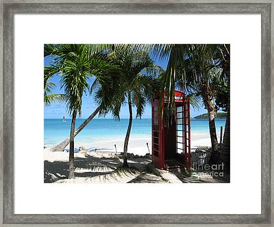 Framed Print featuring the photograph Antigua - Phone Booth by HEVi FineArt