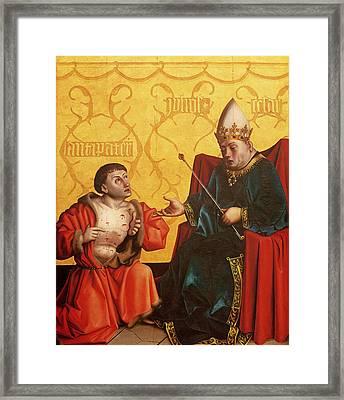 Antipater Kneeling Before Juilus Caesar, From The Mirror Of Salvation Altarpiece, C.1435 Tempera Framed Print by Konrad Witz