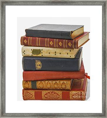 Antiquarian Leather Books Framed Print by Patricia Hofmeester