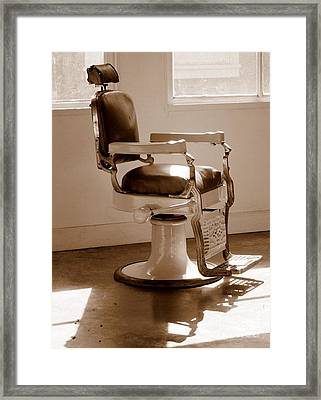 Antiquated Barber Chair In Sepia Framed Print by Mary Deal