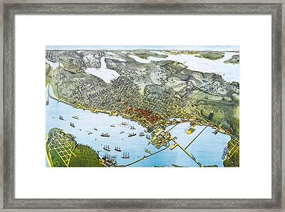 Antique 1891 Seattle Map Framed Print by Dan Sproul