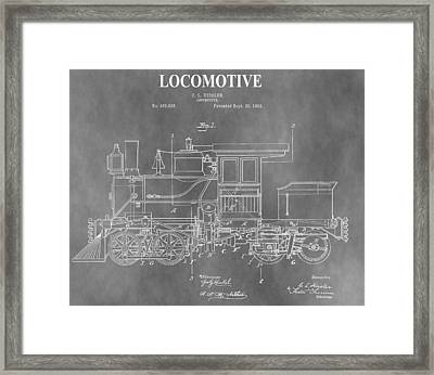 Antique 1892 Train Patent Framed Print by Dan Sproul