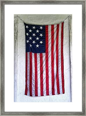 Antique American Flag Framed Print by Olivier Le Queinec