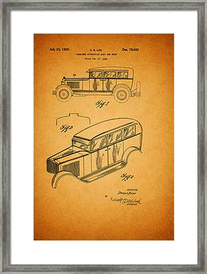 Antique Automobile And Hood Patent 1929 Framed Print by Mountain Dreams