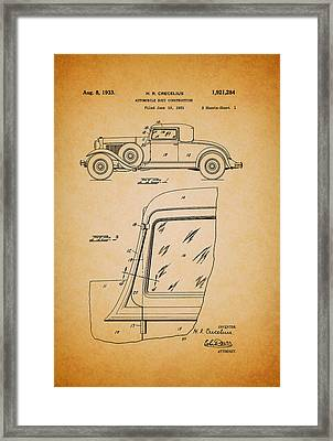 Antique Automobile Body Patent 1933 Framed Print by Mountain Dreams