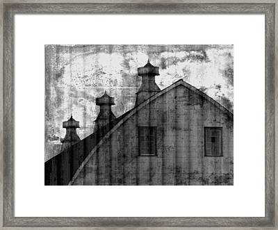Antique Barn - Black And White Framed Print