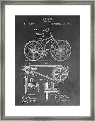 Antique Bicycle Patent Black And White Framed Print by Dan Sproul